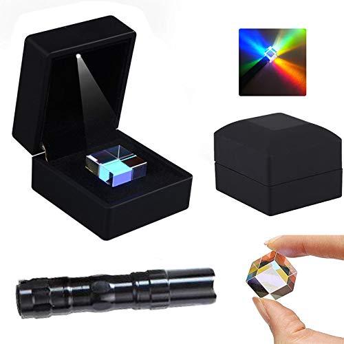 キューブプリズムガラス、光学ガラスXキューブダイクロイックキューブプリズムRgbコンバイナースプリッター、物理学と装飾用のLEDと懐中電灯付きギフトボックス (25 * 25 * 25mm / 0.98 ''×0.98 ''×0.98 ''の立方体)