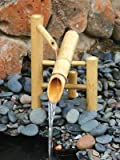 "Bamboo Accents Traditional Japanese Rocking Water Fountain, Outdoor Water Fountain, 12"" Shishi..."