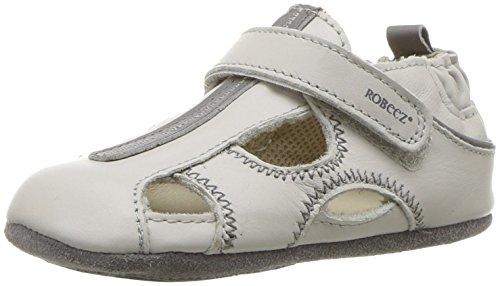 Robeez Boys' Sandal-Mini Shoez Crib Shoe, Rugged Rob-Light Grey, 6-9 Months M US Toddler