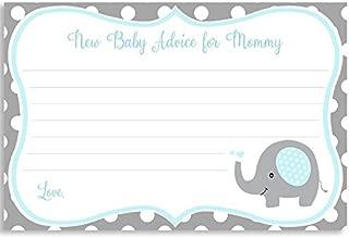 Elephant Baby Shower, Advice to Mommy, Boys, Polka Dots, Little Peanut, Blue, Aqua, Gray, Grey, It's a Boy, Sprinkle, Mommy to Be, Set of 24 Printed Note Cards, Polka Dot Elephant