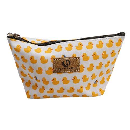 ODN Sac de maquillage cosmétique, sac à brosse imperméable à l'eau, sac à main pour femme -Canard jaune