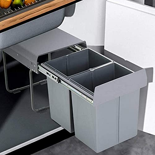 Pull Out Trash can Under Cabinet 40 Quart Double Sliding Trash Can Under Cabinet Bin with Lid and Handle Easy to disassemble Gray Garbage Recycling Trash Container Bin