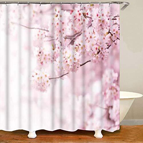 XCBN Romantico Fiore di ciliegio Tenda da Doccia Tenda da Bagno Set Tenda da Doccia Fiore Floreale Rosa e Bianco A7 150x180cm
