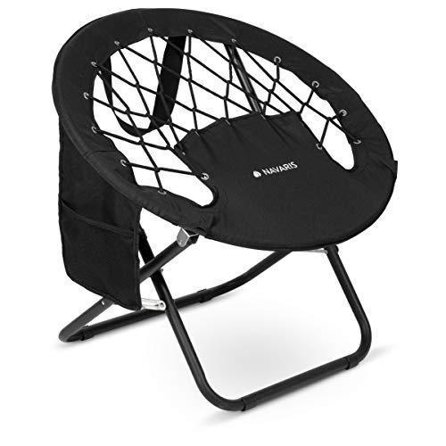Navaris Sedia Bungee Campeggio Pieghevole - Camping Chair Tonda con Rete in Corda Elastica e Tasca - Poltrona Outdoor Pesca Festival Max 120kg - Nero