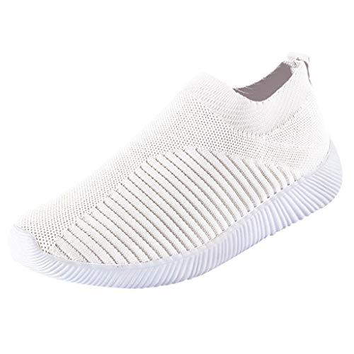 Chaussures Femme Ete Confortable Pas Cher Soldes Baskets Basses Plate Running Jogging Sport Respirant Mesh Chaussette Fille Tennis Sneakers