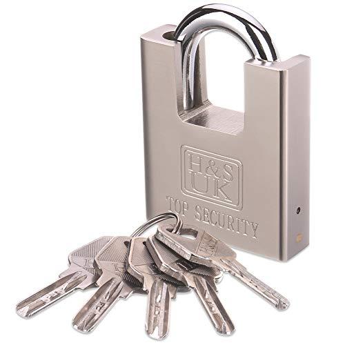 HS 5 Keys 60mm Heavy Duty Warehouse Container Garage Shutter Padlock Gate Chain Lock