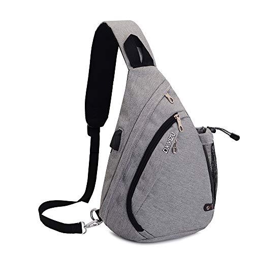 SINOKAL Sling Bag Chest Schulter Rucksack Casual Crossbody Schulter Dreieck Packs Daypacks für Männer Frauen Canvas Digitalkamera Taschen mit Aufladung Port für Sport Outdoor Gym Travel Wandern