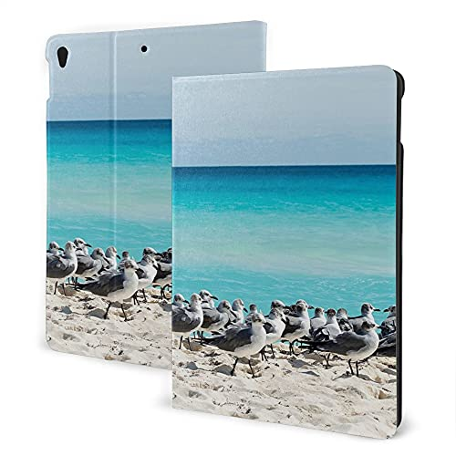 Case For Ipad 8/7 (2020/2019 Model, 8th / 7th Generation), Ipad Air3 & Pro 10.5in Print Theme - Seagulls Decor Collection Seagull On The Cancun Beach Yucatan Mexico Sandy Beach Coast Clear Water