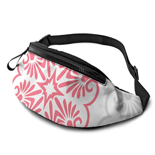 JOCHUAN Kinder Taillentasche Pink Grey Deckchen Fliesen Wallpaper Running Gürteltaschen mit Kopfhöreranschluss und verstellbaren Trägern Mädchen Taille Pack für Reisesport Wandern
