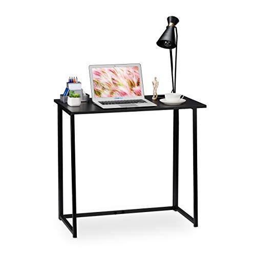 Relaxdays Schreibtisch klappbar, platzsparender Bürotisch zum Klappen, Home Office, Jugendzimmer, 74,5x80x45cm, schwarz