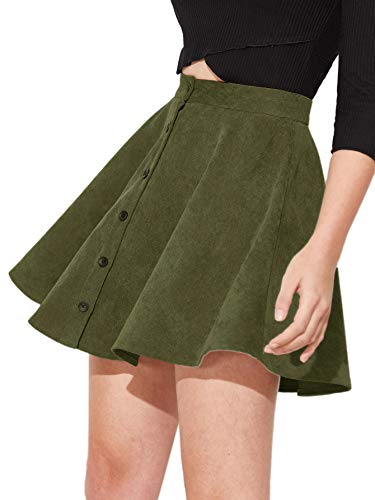 SheIn Women's Button Up Flare A-Line Corduroy Skater Cord Short Skirt (Large, Army Green)