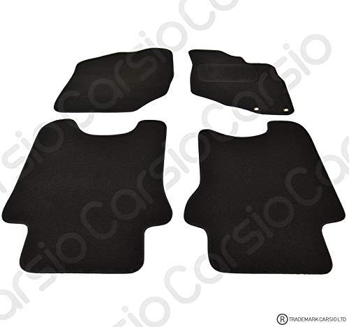Carsio CARP-CUT-2411-(40 x 2) maßgeschneiderte Schwarze Teppich-Fußmatten für Honda Jazz 2002–2008 – 4-teiliges Set mit 2 Clips