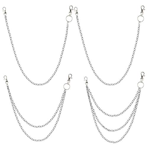 4 Pieces Jeans Chains Hop Pants Chain with Lobster Claw Clasps Metal Wallet Chain for Keys, Wallet, Jeans Pants Handbag