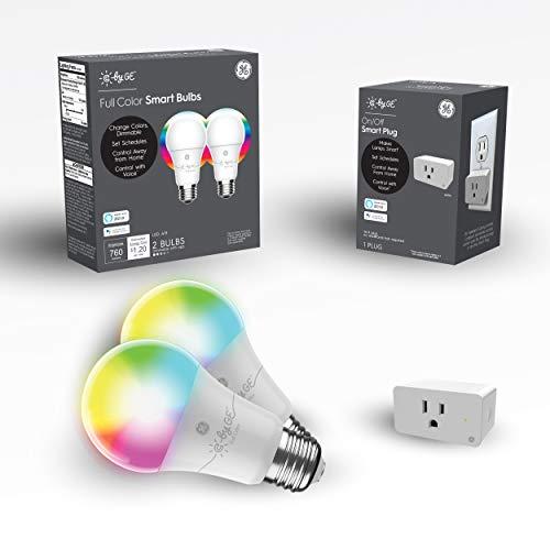C by GE Smart LED Bulbs + Smart Plug Bundle (2 A19 RGB Light Bulbs + Smart Plug), Kids' Color Light Bulbs for Bedroom Starter Kit, Google Home and Alexa, Light Bulbs (Packaging May Vary)