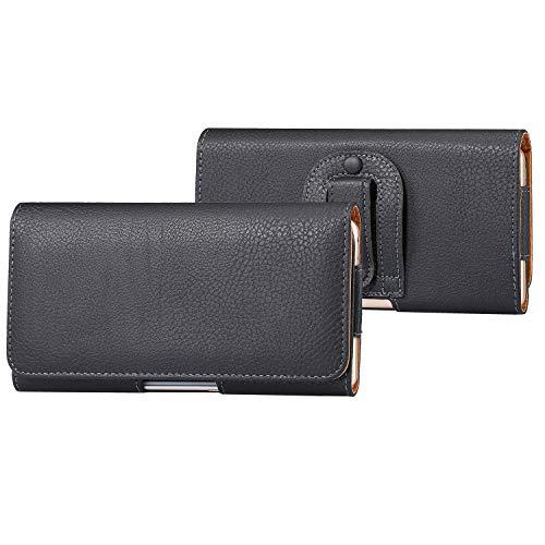 SZCINSEN Funda de cuero universal para iPhone 11/XR, funda de cuero con clip para cinturón para Samsung Galaxy Note10/S10/S20/S7edge