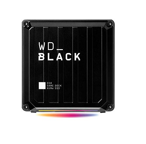 WD_Black D50 Game Dock 1 TB (2x Thunderbolt 3 Anschlüsse, DisplayPort 1.4, 2x USB-C, 3x USB-A, Audio Ein/Aus und Gigabit Ethernet anpassbare RGB-Beleuchtung) schwarz