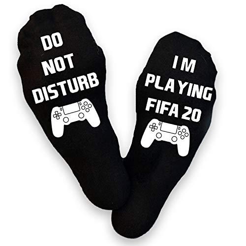 Im Playing FIFA 20, Do Not Disturb Gaming Socks Chaussettes pour fan de football, PlayStation Chaussettes de Noël, cadeau danniversaire, joueur - Noir - XX-Small