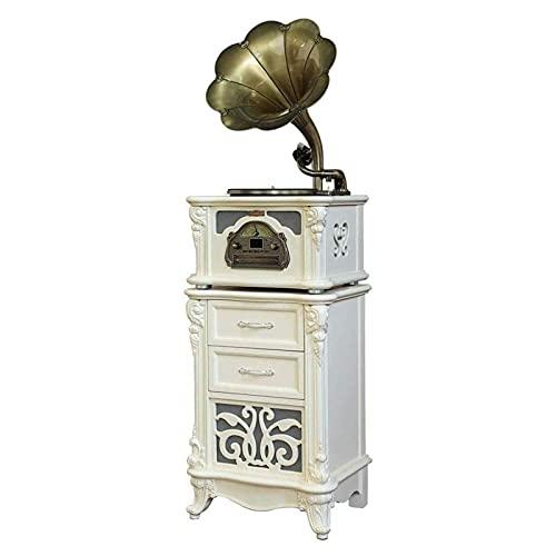 JIE KE Carillon Big Horn Bianco Vintage Classico Decorazione Domestica retrò Antico grammofono Record Giradischi con Altoparlante Stereo, Giocatore LP
