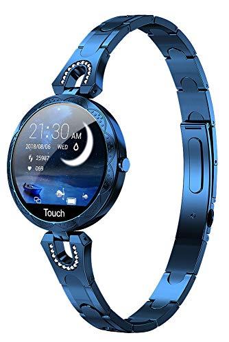 Smartwatch Damen Fitness Armband Mädchen Sportuhr Pulsuhr IP67 Wasserdicht Aktivitätstracker Schrittzähler Herzfrequenz Uhr mit Blutdruckmessung Schlaftracker IOS Android Blau