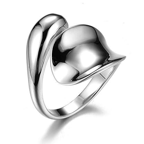 Lotus Fun S925 Sterling Silber Ring Minimalistische Glatte Wassertropfen Ringe öffnen Ringe Natürlicher Kreativ Beliebt Handgemachter Einzigartiger für Frauen und Mädchen