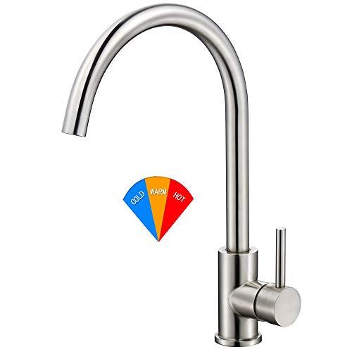 Mitigeur de cuisine avec bec haut, qualité alimentaire, acier inoxydable 304, pivotant, mitigeur, mitigeur, évier de cuisine robinet mitigeur sans plomb robinet (J)