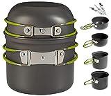YSCYLY Kit De Utensilios De Cocina para Acampar De Camping,7 PCS para vajilla de 2-3 Personas Pot Pan Set,para Picnic Barbacoas Viajes Fiesta Familiar