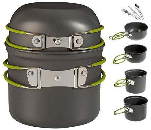 YSCYLY Campingkookset, 7 stuks, voor servies met 2-3 personen, voor wandelen, backpacking, trekking, picknick voor buiten