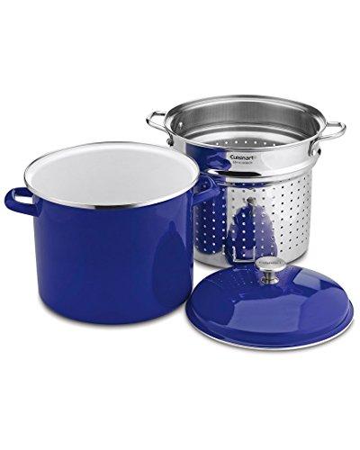 Cuisinart 3-teiliges Suppentopf-/Dampfgarer-Set mit selbstentleerendem Clip, 12 Quart, Kobaltblau