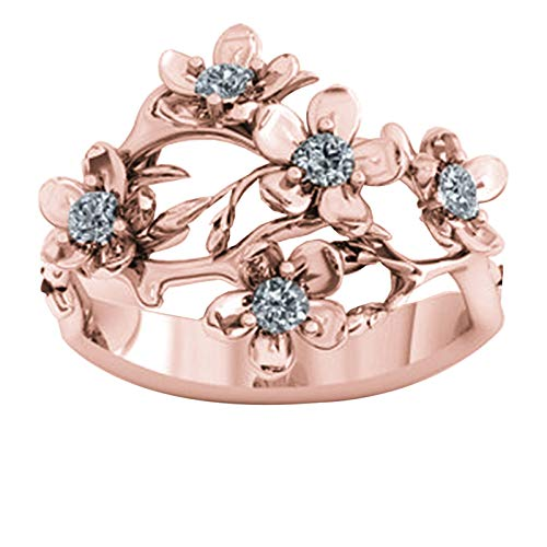 Personalized 5 Birthstone Rings DIY Name Ring Flower Ring Promise Ring Christmas for Women(18k Rose Gold Plated U 1/2)
