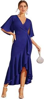 Blue Flutter Sleeve Ruffle Trim Dip Hem Dress Medium