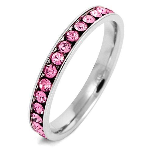 MunkiMix Edelstahl Ewigkeit Ewig Ring Band CZ Zirkon Zirkonia Rosa Pink Hochzeit Größe 60 (19.1) Damen
