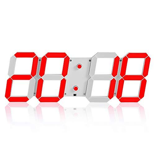 TYXL Wall Clocks Einfache Kreative Büro Kreative Wecker Multifunktions-3D-Stereo-Digital-LED-Wanduhr Fernbedienung Lichtempfindliche Uhr (Color : Red)