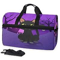 黒猫紫スポーツスイムジムバッグシューズコンパートメントウィークエンダーダッフルトラベルバッグハンドバッグレディースガールズメンズ
