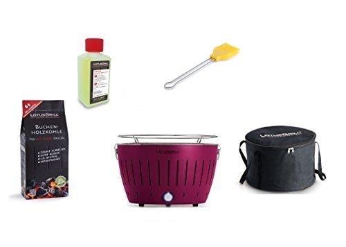 LotusGrill Barbecue Kit de démarrage 1 x Lotus Barbecue charbon de bois de hêtre/Prune/Mauve 1 x 1 kg, 1 x Pâte combustible 200 ml, 1 x Pinceau maïs jaune, 1 x sac de transport