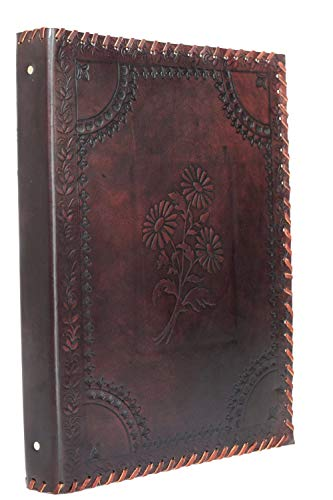 Herbarium - Akten Ordner 4 Ringe DIN A4 Echtes Büffel Leder Handmade Indien