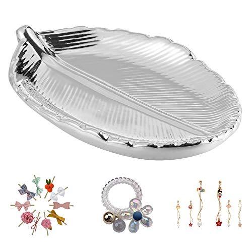 Blatt Schmuckschale Tablett Ring Dish Keramik Aufbewahrung Tablett Serviertabletts Buffet Schmuckschale Kosmetiktablett Schmuck für Schlüssel Ringe Halsketten Ohrringe Kerzen Snacks Dessert