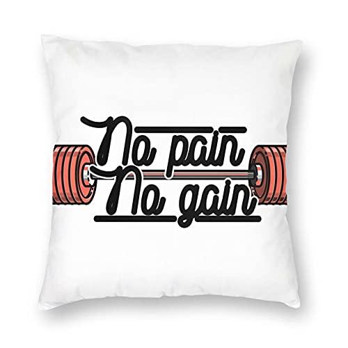 Funda de almohada de poliéster para levantamiento de pesas, sin dolor, sin ganancia, diseño vintage con emblema de estilo vintage, para sofá, sala de estar, cama, coche, tamaño 30,5 x 30,5 cm