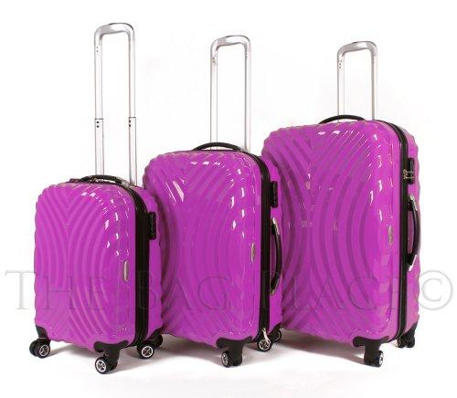 Rose Lot de 3 Pièces – 4 Roues valises Trolley – Coque Rigide Poly Carb PC Sac Fuchsia