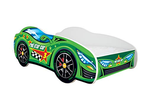 topbeds cama infantil, diseño coche de carreras–Colchón incluido verde Talla:140 x 70 cm