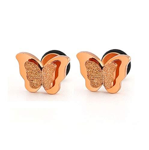 chenyou Joyería de Moda Arco de Rose Oro Oro Conjunto de Doble Capa de la Mariposa de Acero Inoxidable Esmerilado joyería Caja de Regalo Mujer niña para (Color : 60cm, Size : Rose Gold Earring)