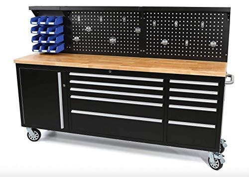 Werkbank mit Schubladen 215 cm Werkzeugwagen, fahrbare Werkbank mit Massivholzplatte inkl. Rückwand, Werkbank mit Lochwand und Schubladen, Werkbank mit Rollen und Schubladen (Werkbank 3)