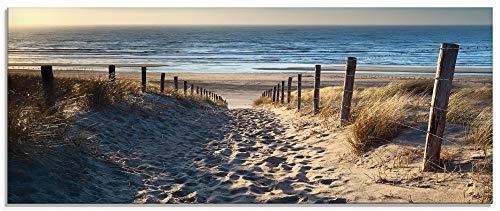 Artland Glasbilder Wandbild Glas Bild einteilig 125x50 cm Querformat Strand Meer Küste Nordsee Natur Landschaft Sommer Dünen Sand Gräser T9IP