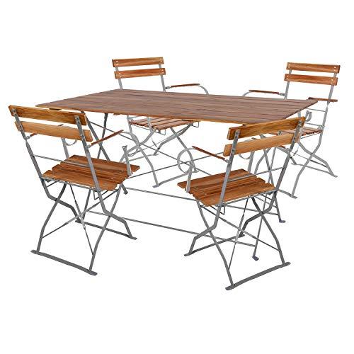 Mojawo Juego de mesa y 4 sillas plegables con reposabrazos, madera de acacia y acero pulverizado, 120 x 70 cm