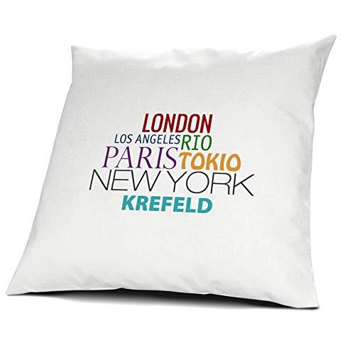 printplanet Kopfkissen Krefeld, Kissen mit Füllung, Famous Cities of The World, 40 cm, 100% Baumwolle, Städtekissen, Souvenir, Geschenkidee