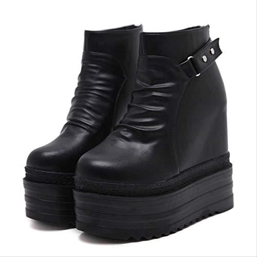 ACWTCHY Frauen Plateau Stiefeletten High Heels Casual Femal Schuhe Niet Frauen Schuhe 5.5 Schwarze Schuhe