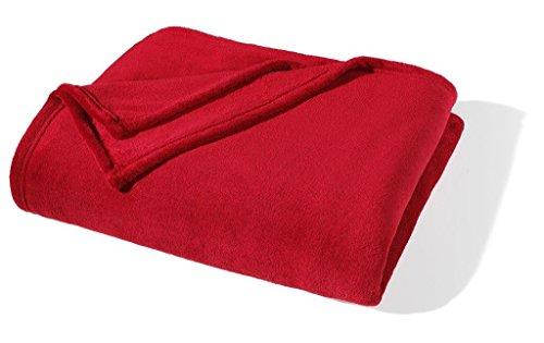 MODERNO Kuscheldecke Fleece-Decke Wolldecke Tagesdecke Wohndecke Plaid Sofa Rot 150x200cm | mit Antipilling Effekt | Antistatisch | Exklusive Verarbeitung - Doppelt umäumte Naht