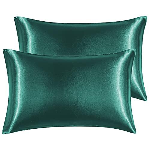 Hansleep Funda Almohada 40x70cm de Satén Verde Oscuro, Sedoso estándar para 2 Piezas, con Cierre de sobre, Muy Liso Suave de 100% Microfibra, Belleza Facial, Cuidado de la Cara, hipoalergénico