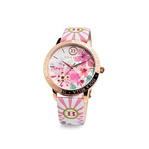 Reloj Isla Bella Flores de Pesco de acero, piel y circonitas 40000046