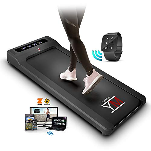 YM Walking Pad Tapis Roulant Elettrico Scrivania App KINOMAP e FITSHOW, Orologio Telecomando Watch Controller, 6 Programmi, Professionale Slim Piatto Bluetooth per Casa e Ufficio 1,5HP (Picco 2,5HP)