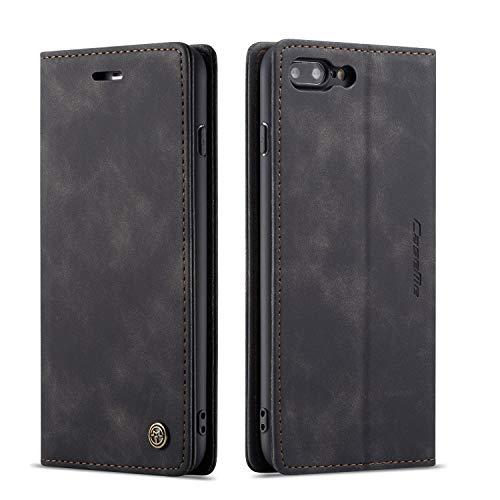 QLTYPRI Hülle für iPhone 6 6S, Vintage Dünne Handyhülle mit Kartenfach Geld Slot Ständer PU Ledertasche TPU Bumper Flip Schutzhülle Kompatibel mit iPhone 6 6S - Schwarz